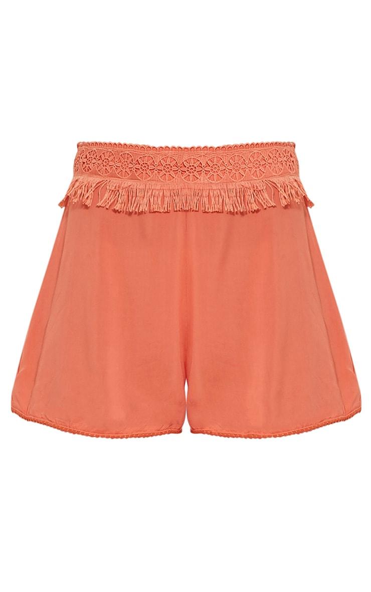 Marielle Coral Fringe Trim Waist Shorts 3
