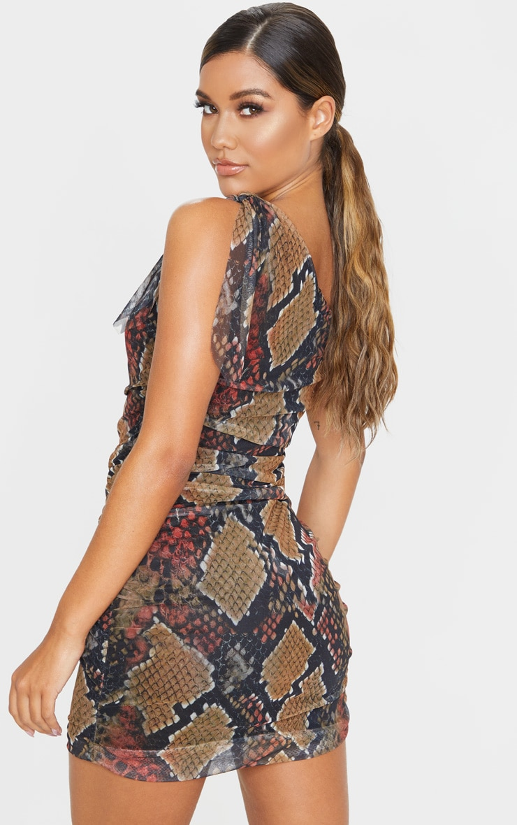 Multi Snake Print One Shoulder Bodycon Dress 2