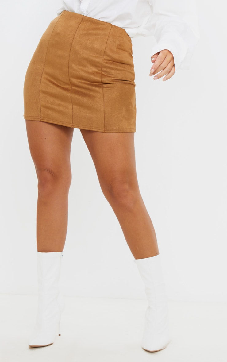 Camel Faux Suede Seam Detail Mini Skirt 2
