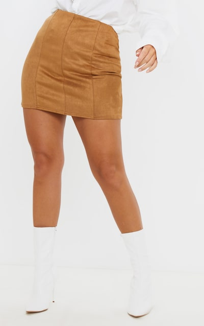 Camel Faux Suede Seam Detail Mini Skirt