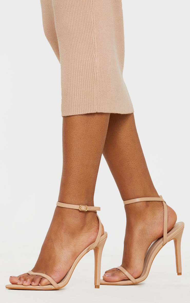 Nude Toe Thong Ankle Strap Point Toe Heeled Sandal 1