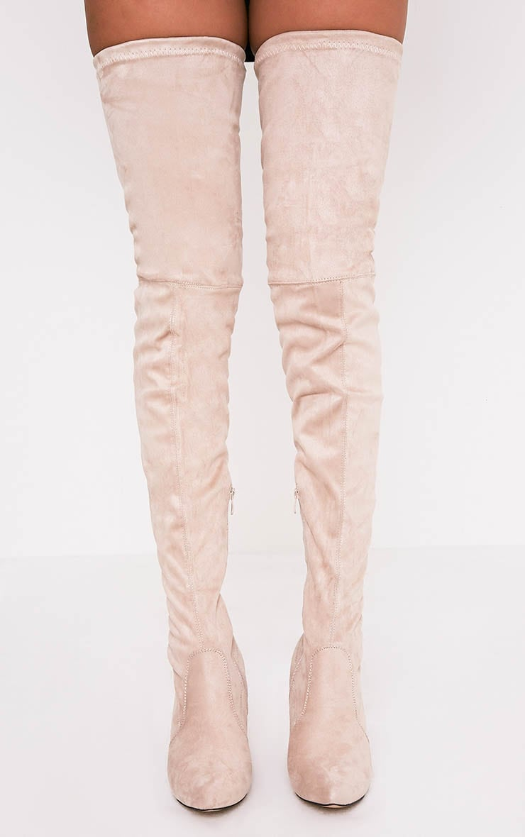 Cindy Nude Extreme Thigh High Block Heeled Boots 3