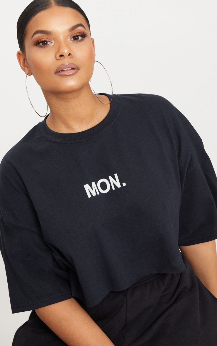 Plus Black MON Slogan Cropped T Shirt 5