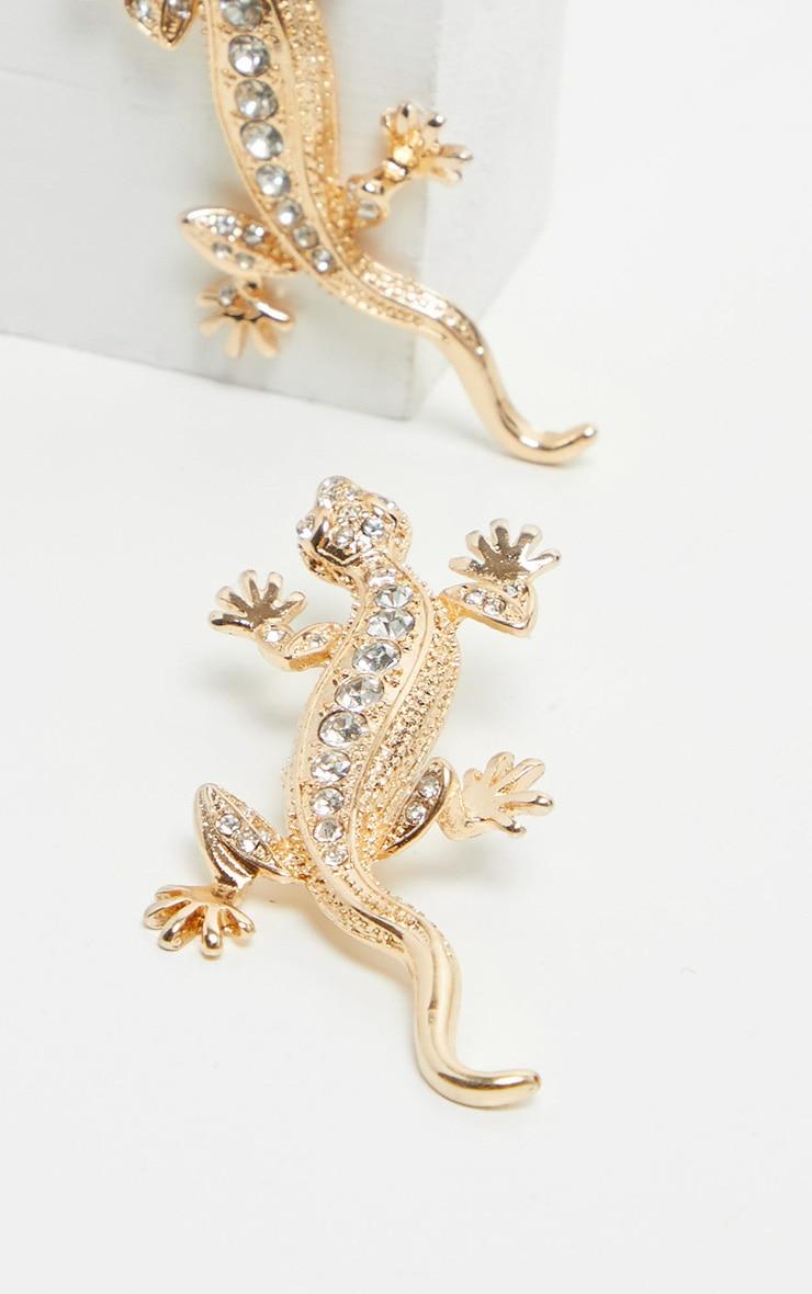 Gold Lizard Silver Diamante Earrings 3