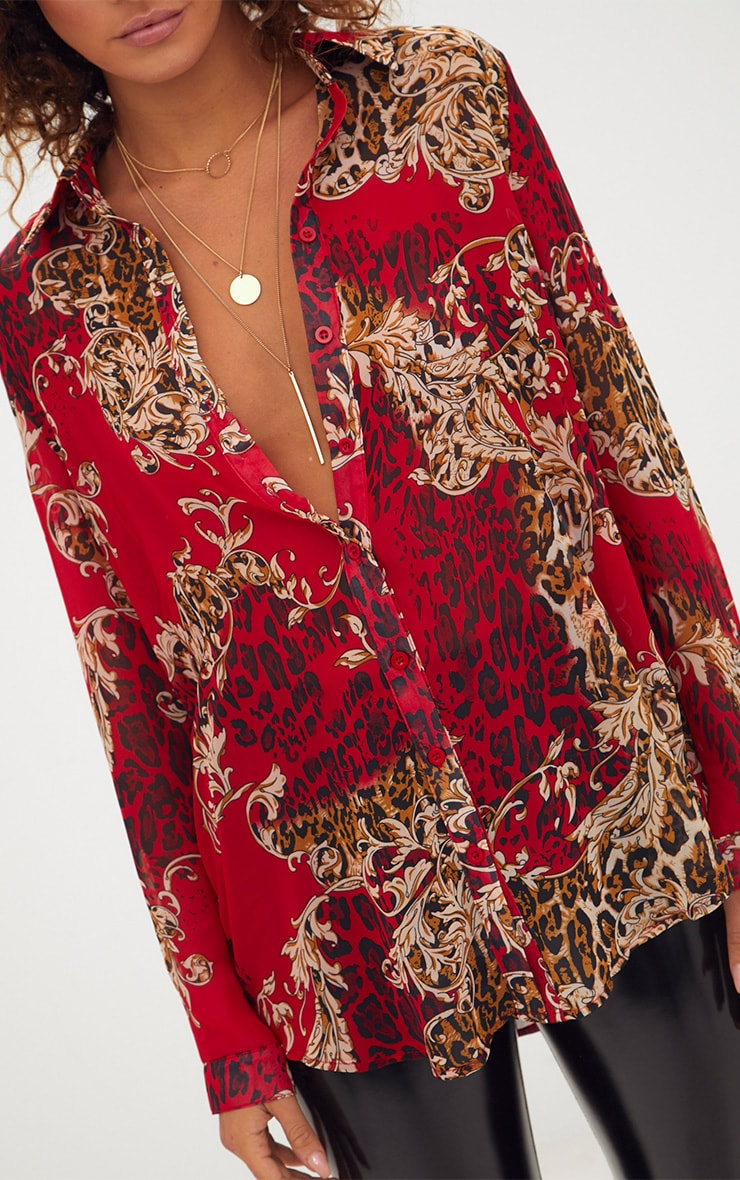 Red Baroque Print Chiffon Oversized Shirt 5