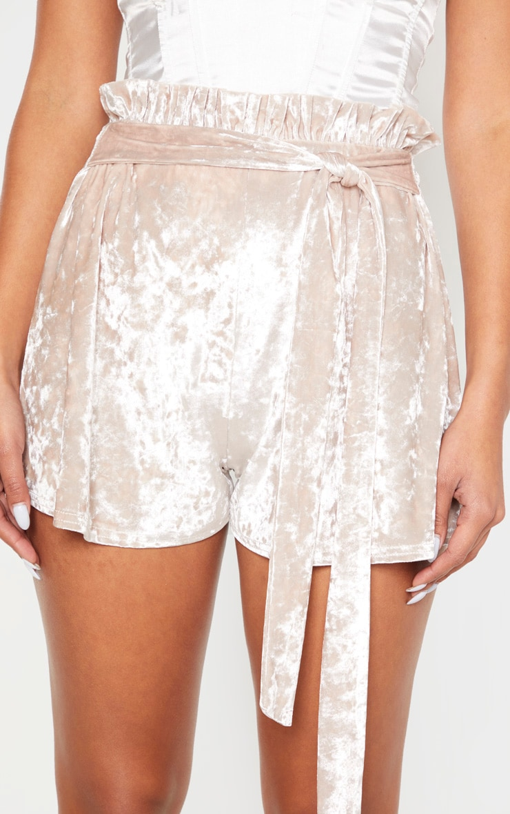 Champagne Crushed Velvet Paperbag Shorts 5