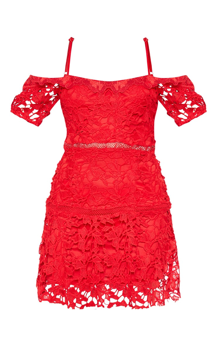 Red Lace Cold Shoulder Flute Hem Bodycon Dress 3