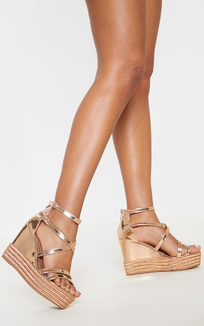 cc59a5e43902 Rose Gold Strappy High Wedge