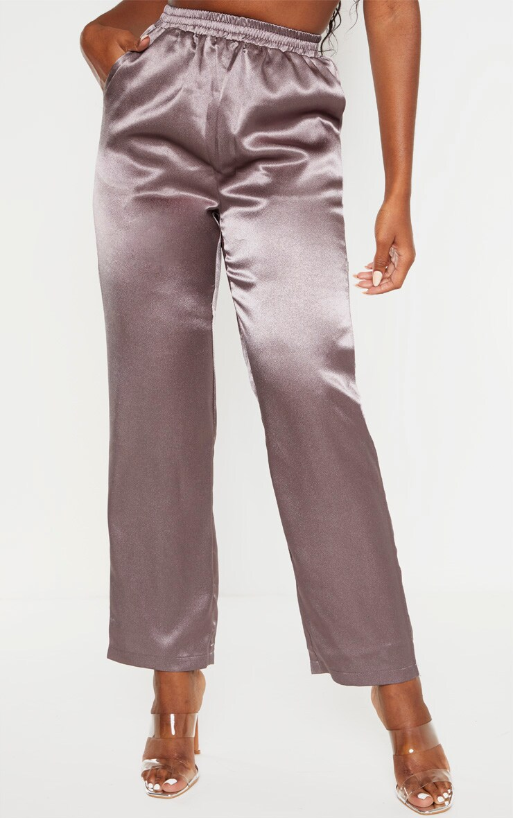 Charcoal Satin Trouser  2