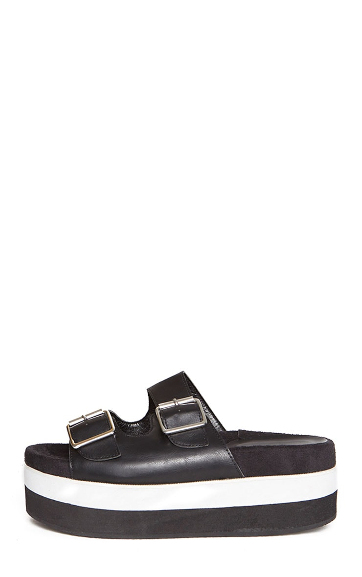 Cody Black Buckle Flatform Sandals 7