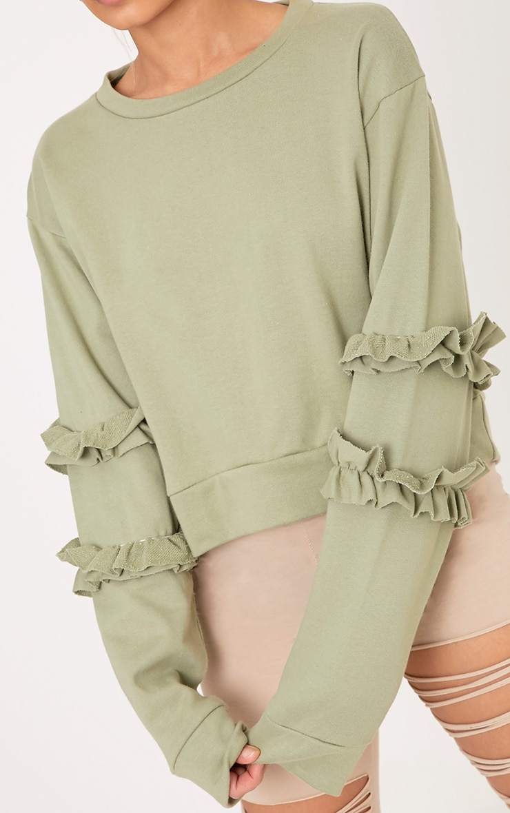 Venetia Sage Green Frill Detail Sleeve Sweater 5