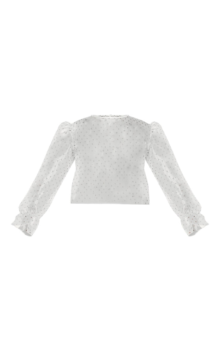 Plus White Polka Dot Organza Cuff Detail Top 5