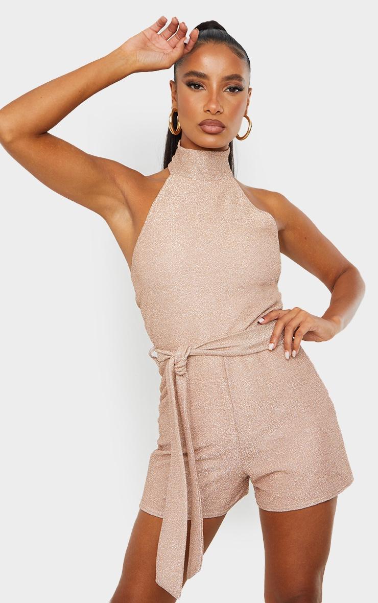Dusty Pink Glitter High Neck Tie Waist Playsuit 3