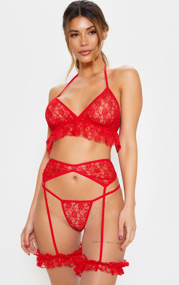 b2611354f4 Red Lace Long-line Full Lingerie Set image 1