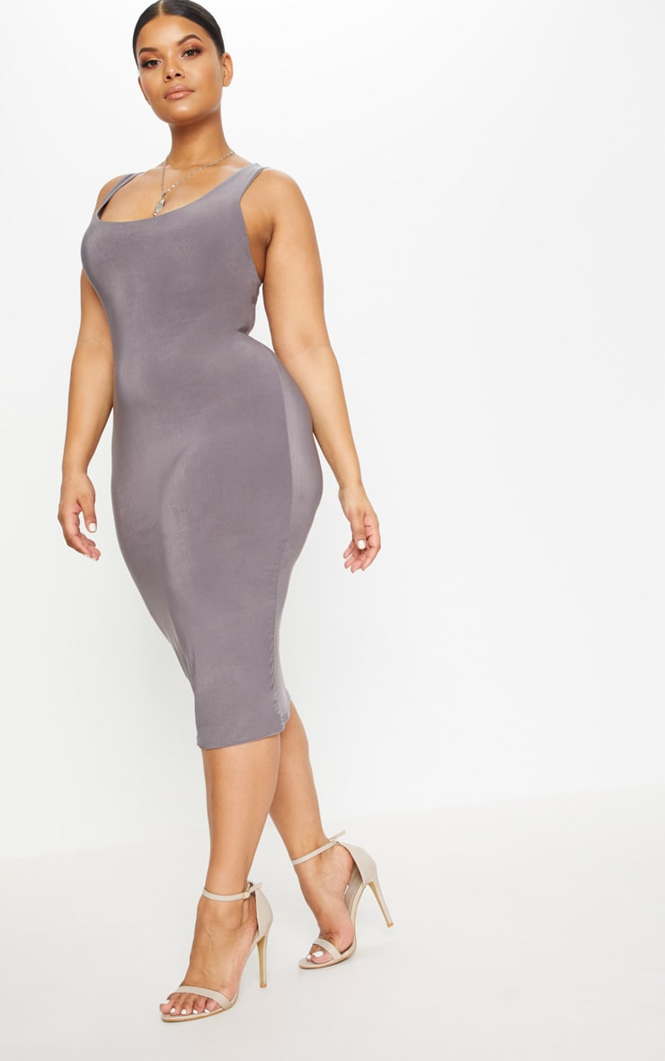 Plus Charcoal Grey Second Skin Slinky Scoop Neck Midi Dress 5