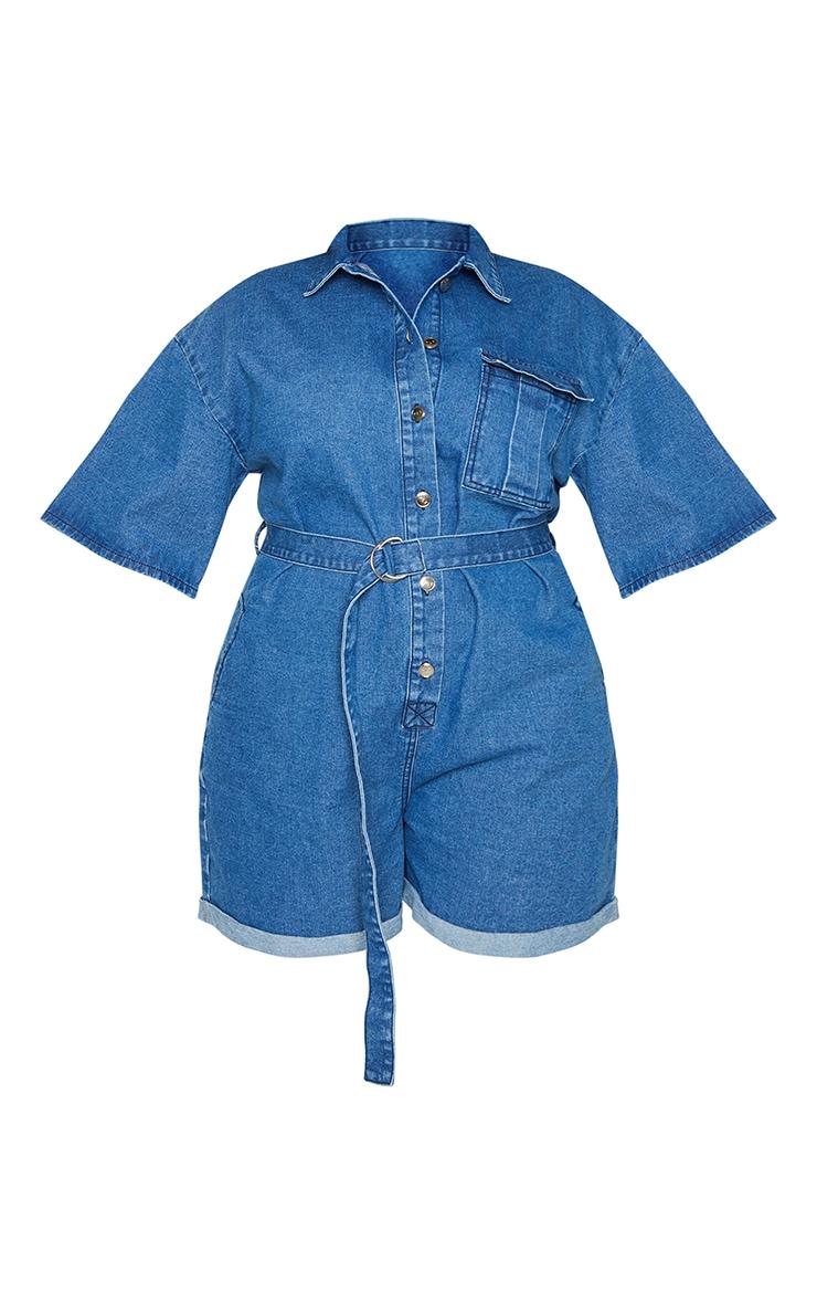 Plus Blue Wash Shorts Denim Playsuit 5
