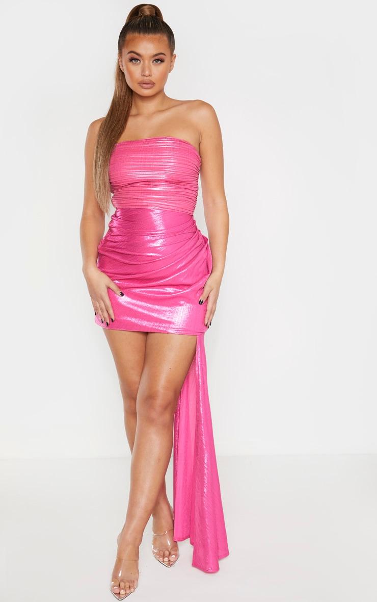 Pink Metallic Bandeau Drape Bodycon Dress 1