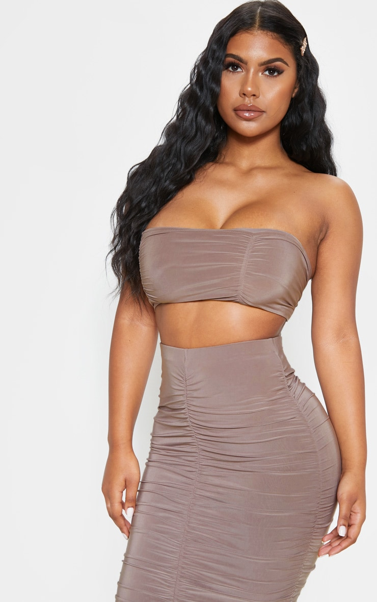 Taupe Slinky Ruched Detail Bandeau Crop Top 4