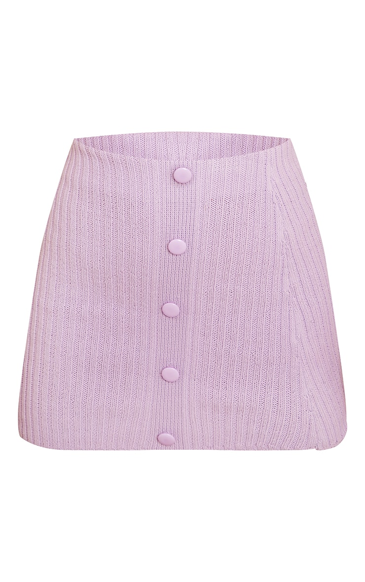 Lilac Ribbed Knitted Button Mini Skirt 6