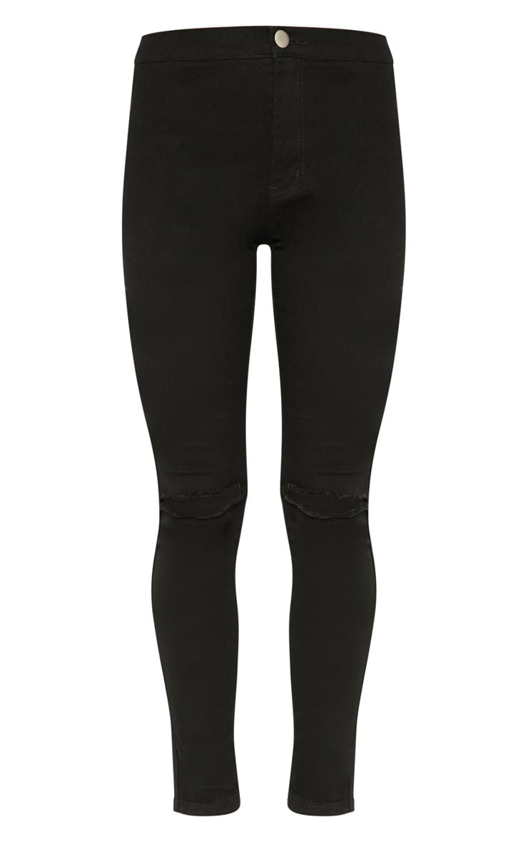 Black Knee Rip High Waisted Skinny Jean 3