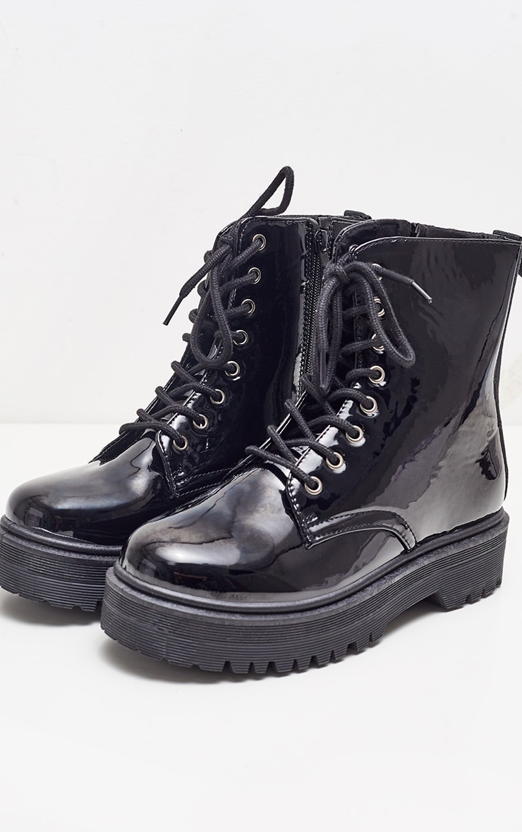 Black Patent Chunky Cleated Boot 4