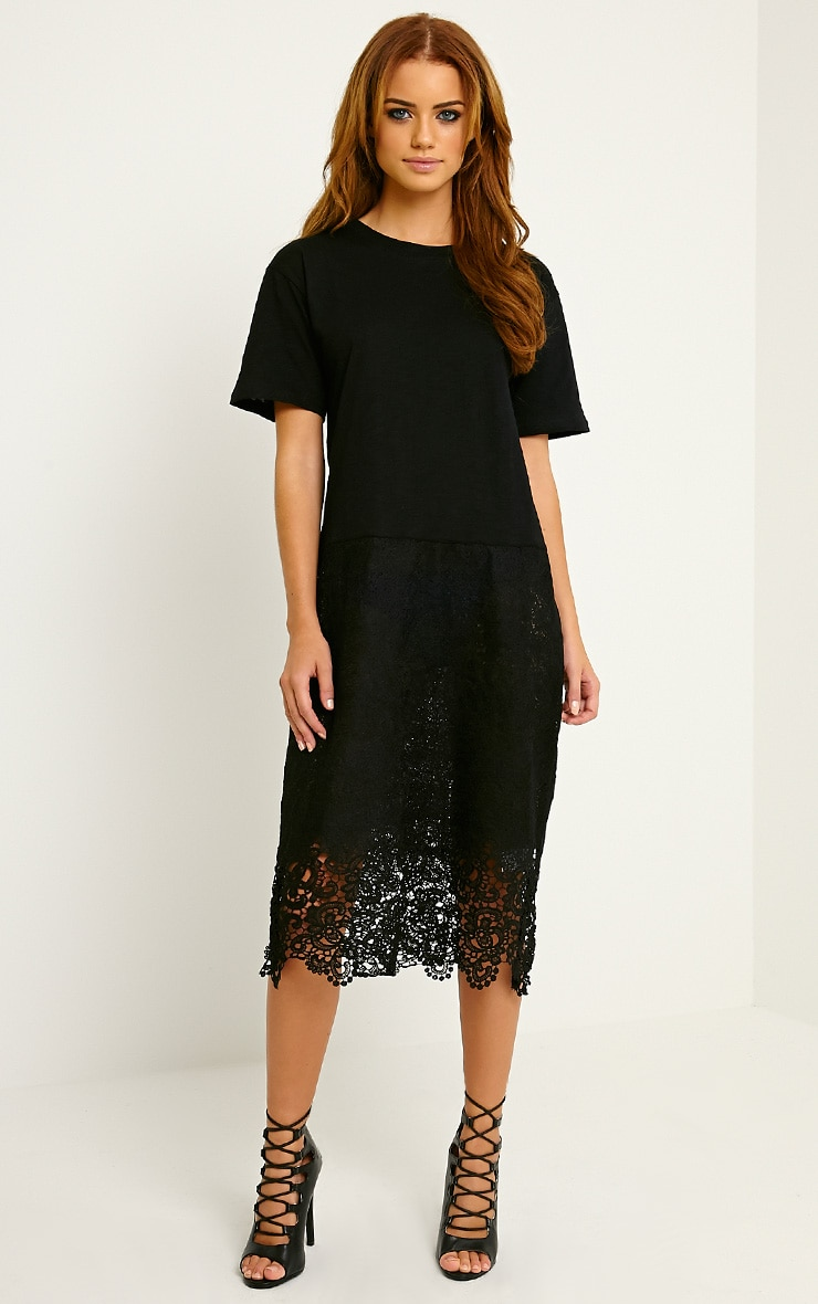 Maia Black Oversized Crochet T-Shirt Dress 1
