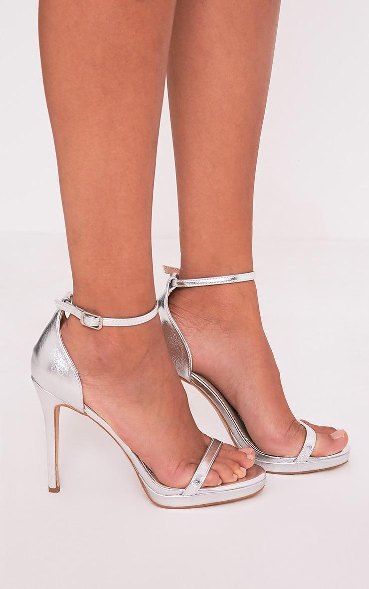 Enna Silver Single Strap Heeled Sandals