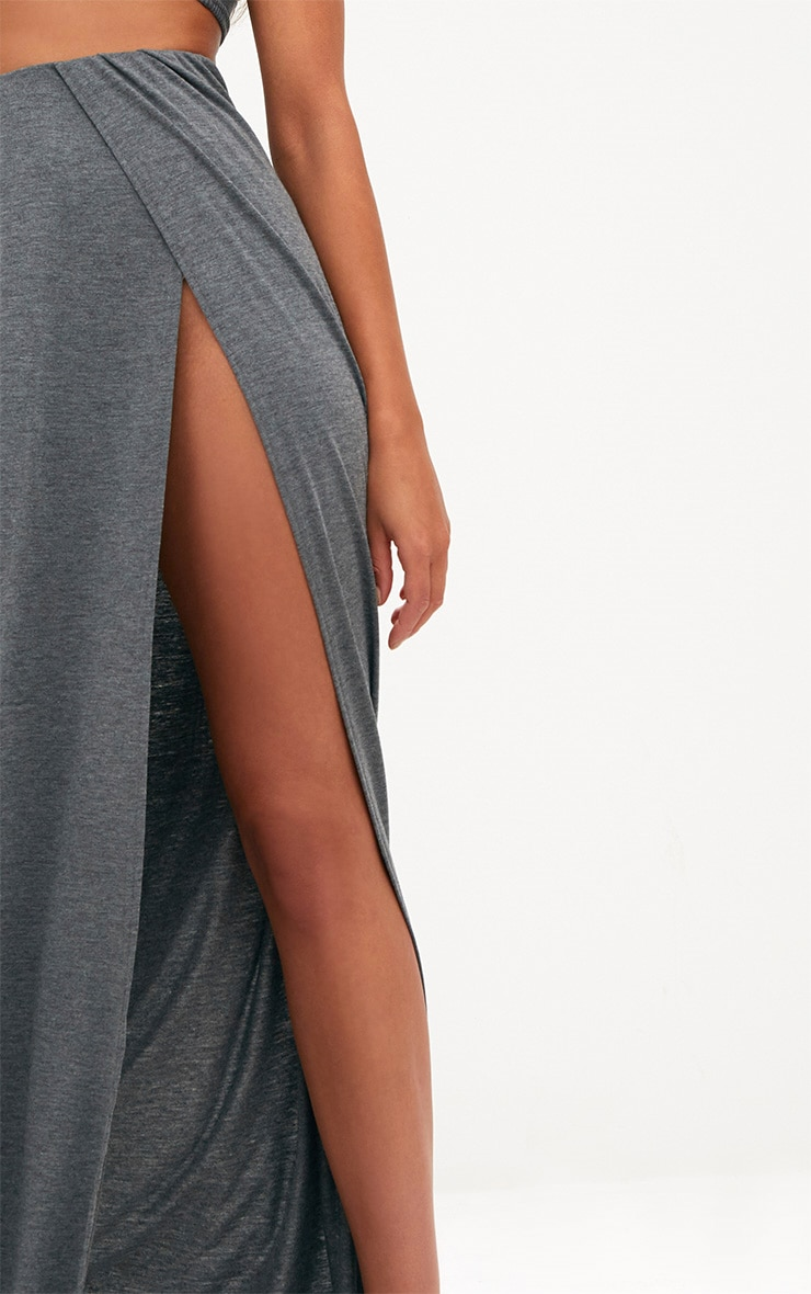 Grey Double Split Maxi Skirt 5