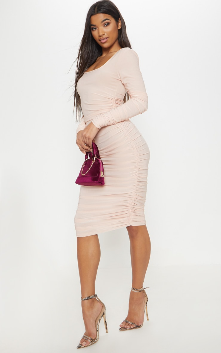Nude Square Neck Ruched Detail Bodycon Dress