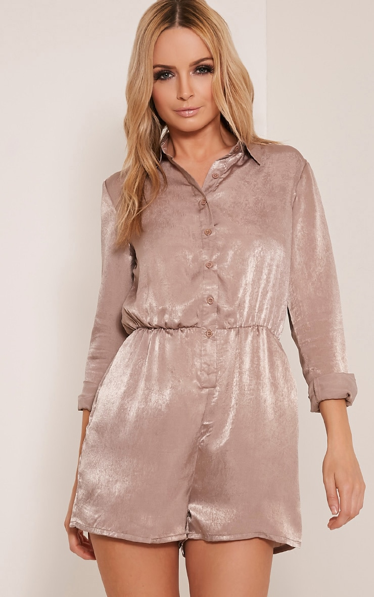 Pina Taupe Silk Feel Shirt Playsuit 1