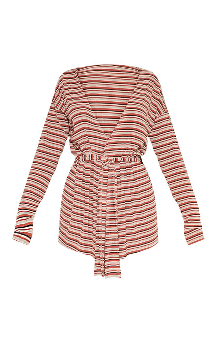 Rust Knitted Rib Belted Cardigan 3
