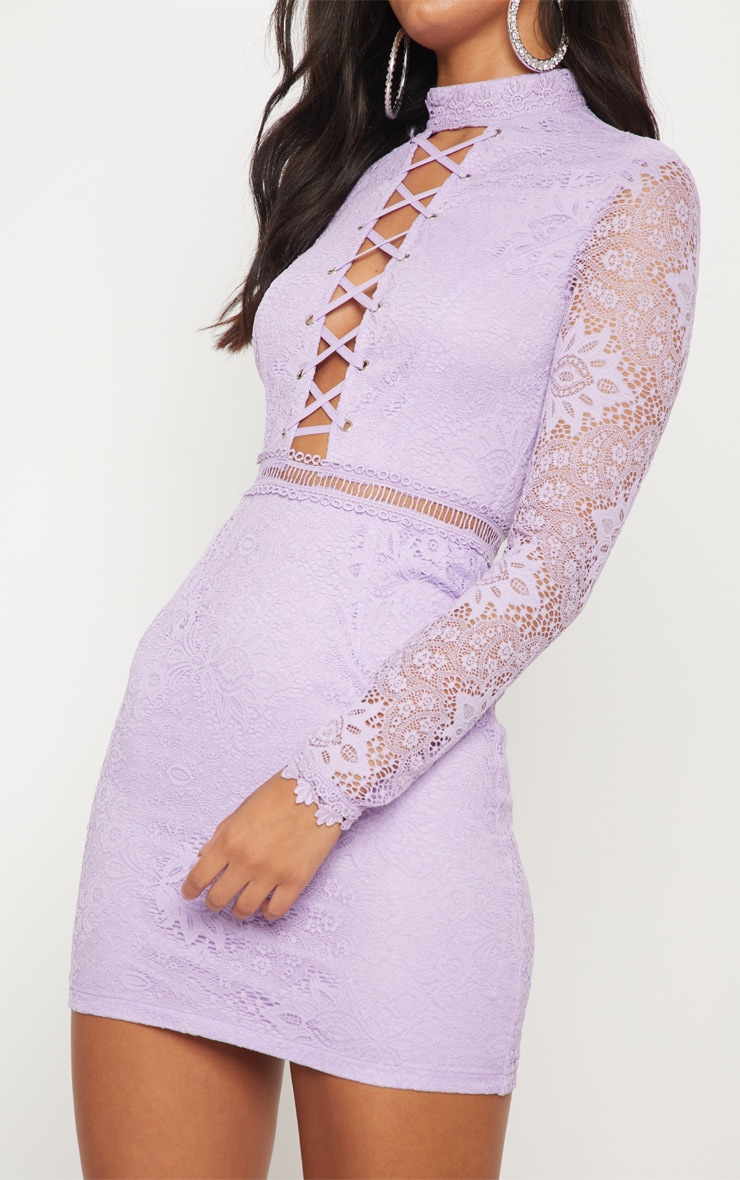 Lilac High Neck Lace Up Bodycon Dress 5