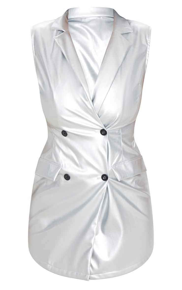 Silver Sleeveless Faux Leather Blazer Dress 3