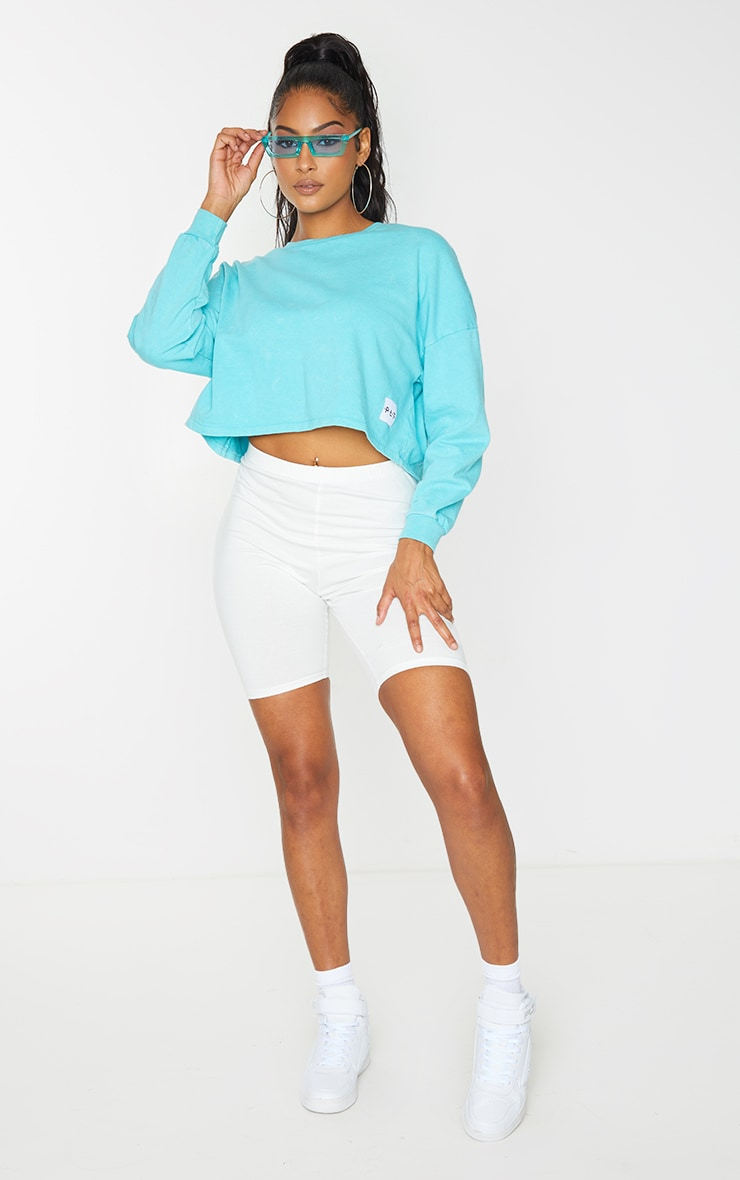 PRETTYLITTLETHING Blue Label Washed Long Sleeve Crop T Shirt 3