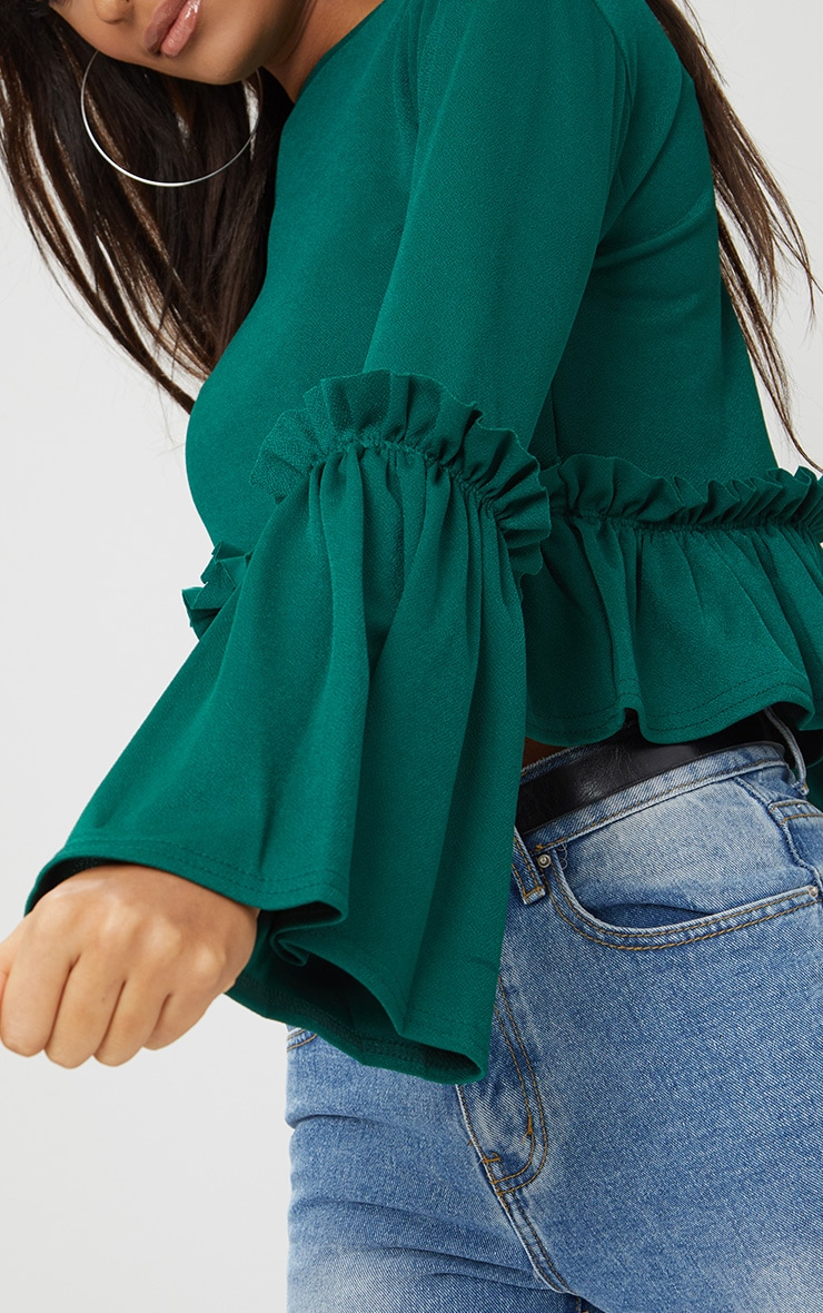 Emerald Green Frill Sleeve Top  5