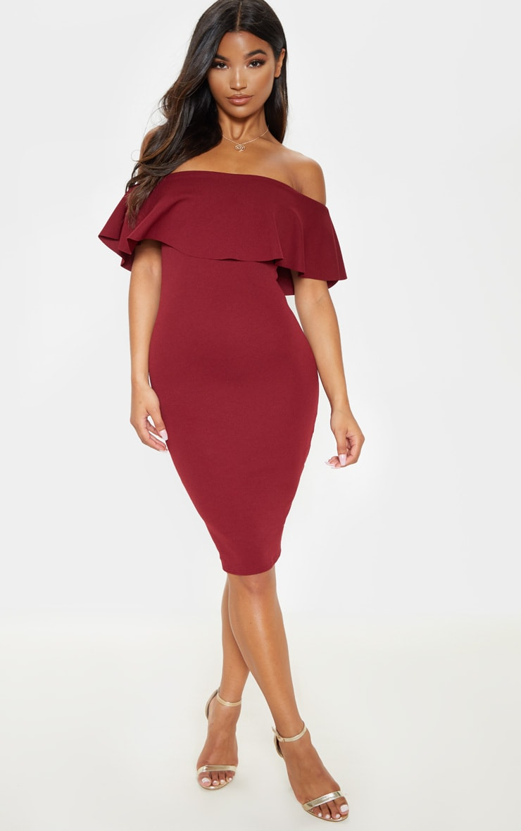 Celinea Burgundy Bardot Frill Midi Dress 1
