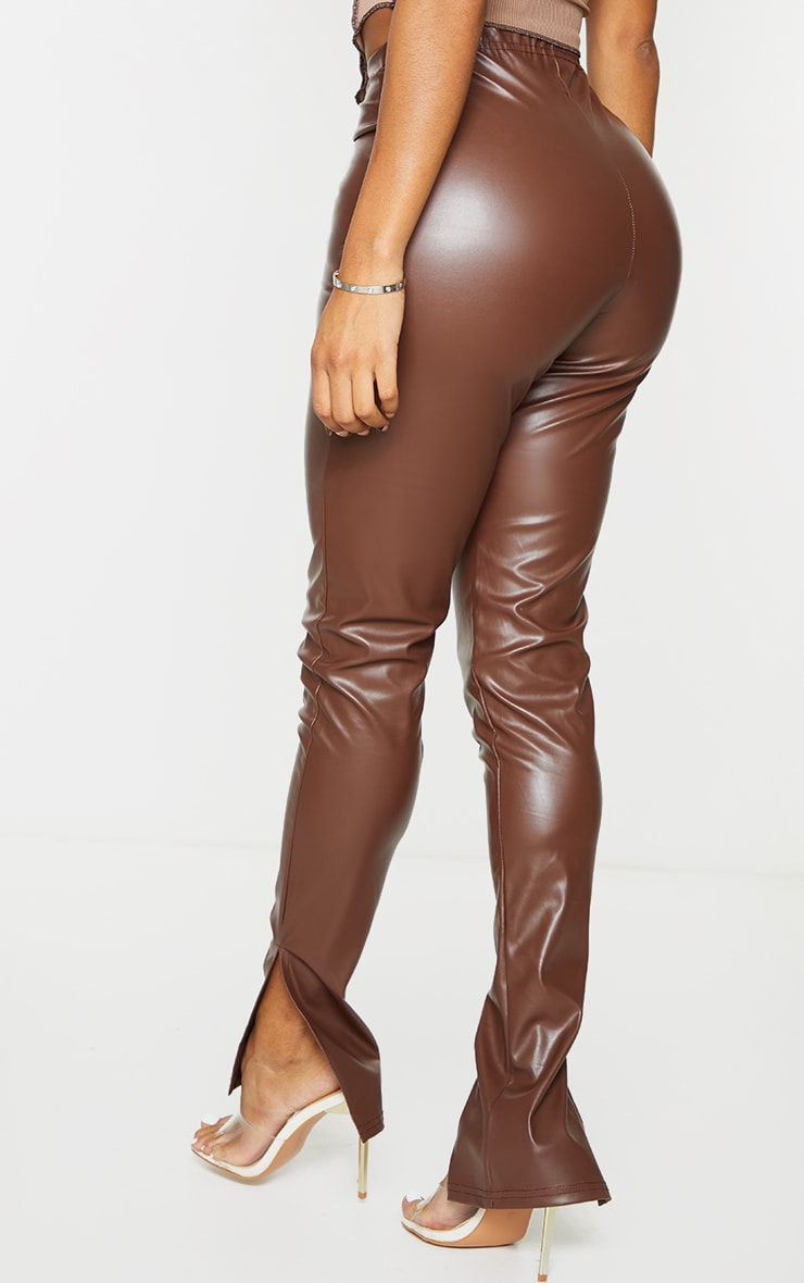 Shape Mocha PU Split Hem Trousers 3