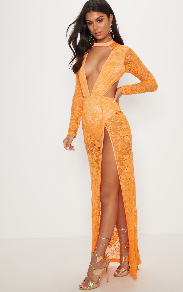 Tangerine Lace Plunge Backless Maxi Dress 4