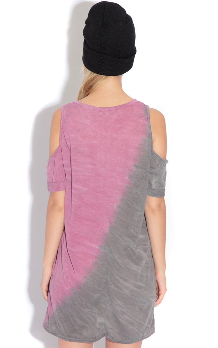 Leah Purple & Grey Tie Dye Cut Out Shoulder Top 4