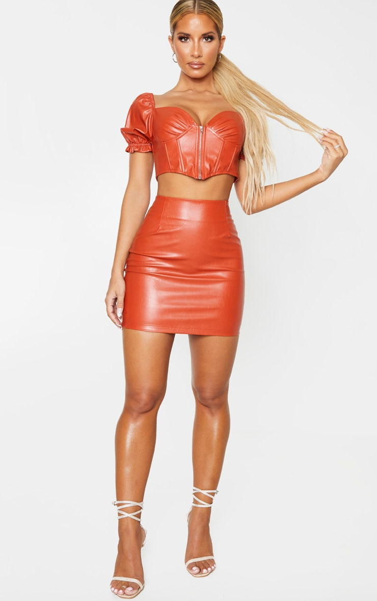 Burnt Orange PU Mini Skirt 5