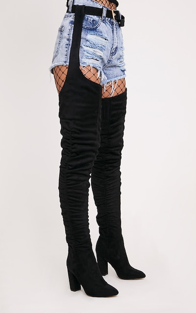 5f28879105a2 Beksie Black Belted Thigh High Boots