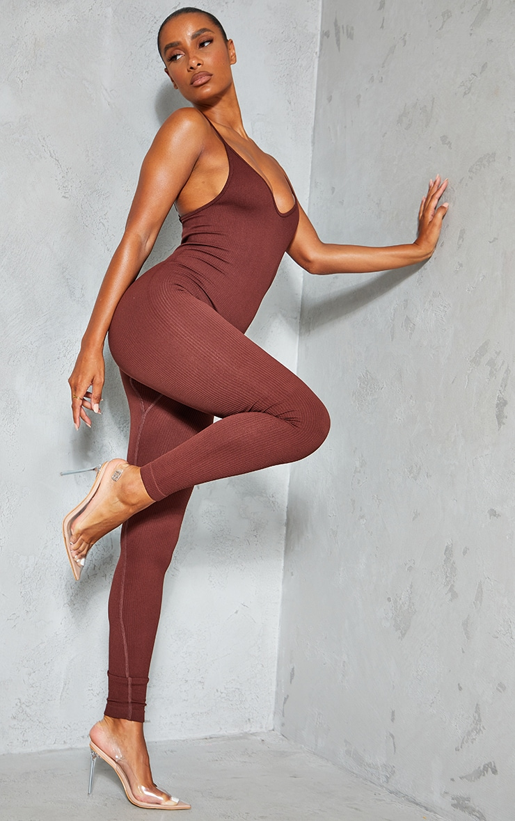 Chocolate Structured Contour Rib Strappy Plunge Jumpsuit 3