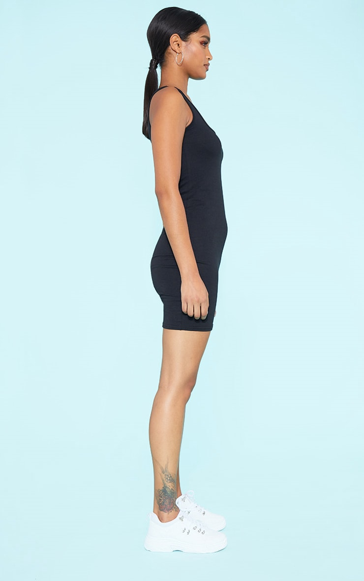 RECYCLED Black Square Neck Sleeveless Bodycon Dress 2