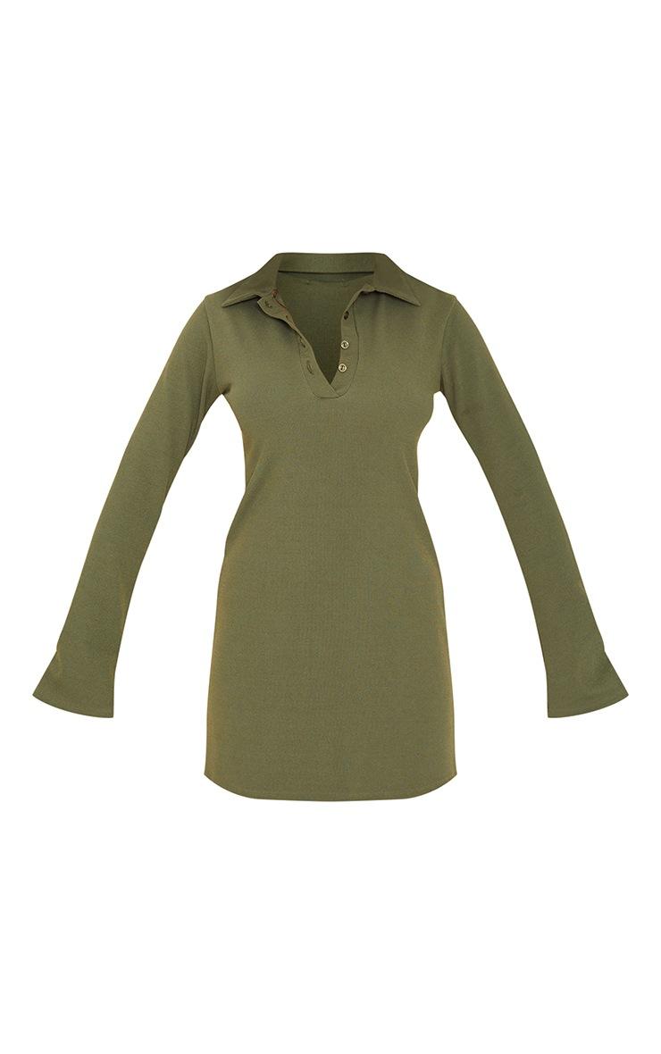 Khaki Rib Polo Collar Long Sleeve Bodycon Dress 5