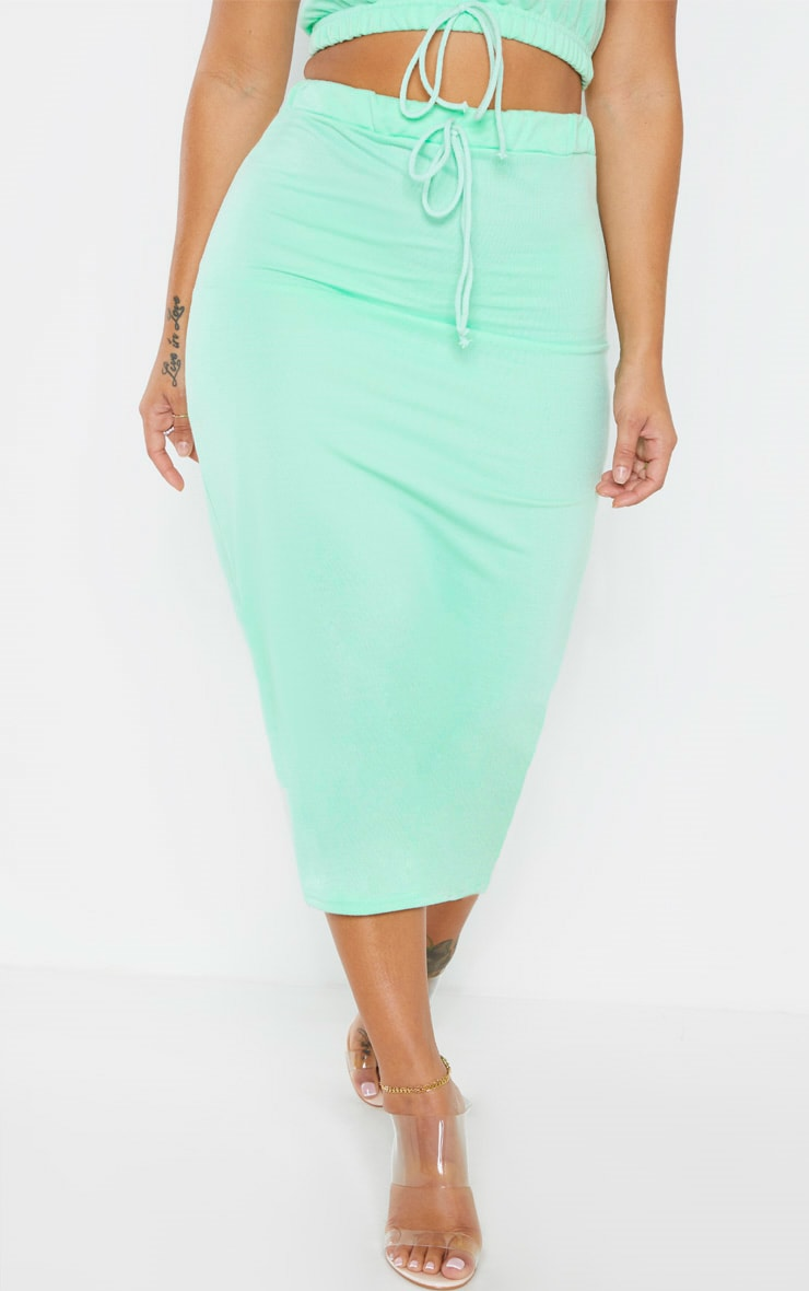 Shape Mint Sweat Drawstring Midi Skirt 2