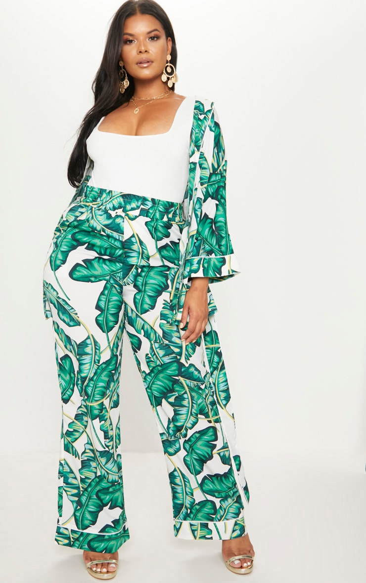 Plus Green Palm Print Wide Leg Trousers 1
