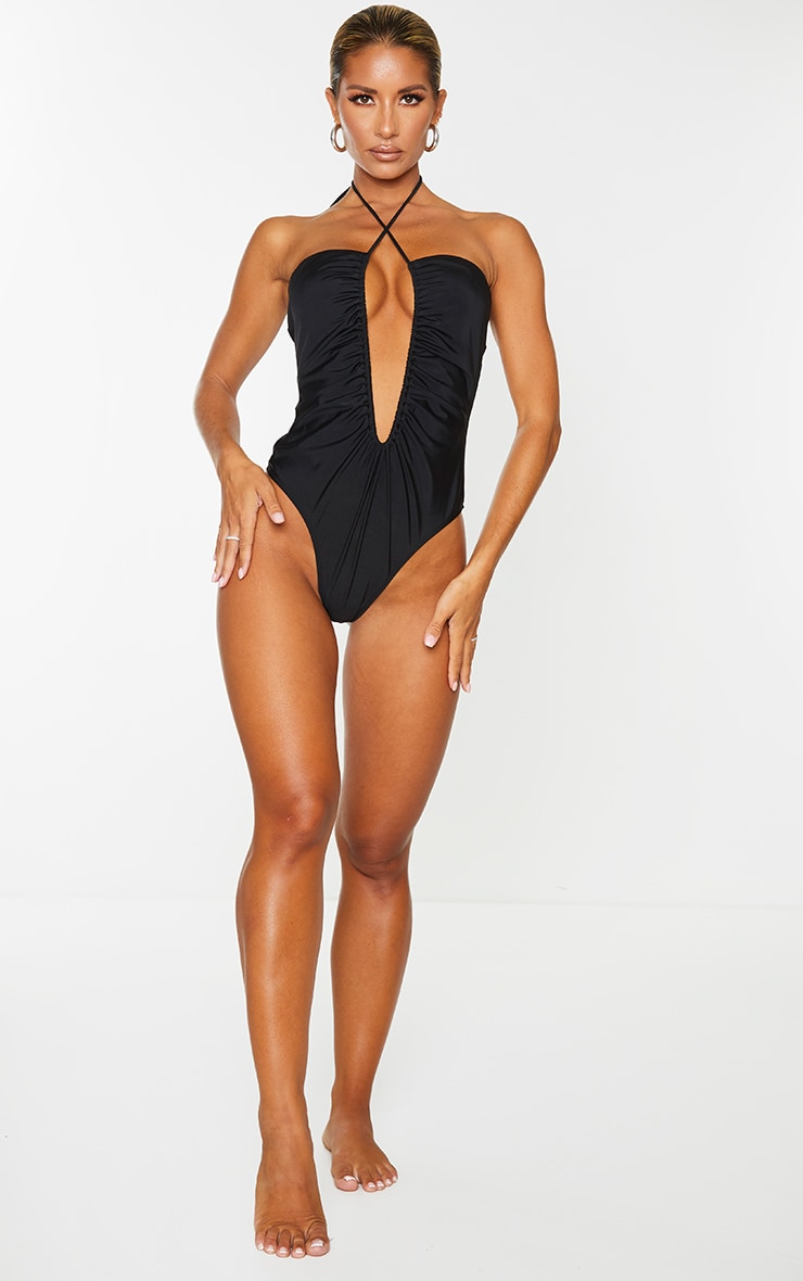 Black Scoop Neck Ruched Swimsuit 3