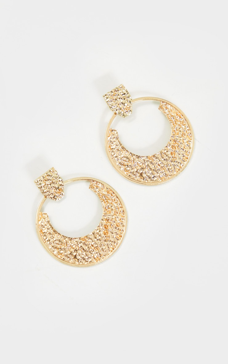 Gold Textured Statement Earrings 2