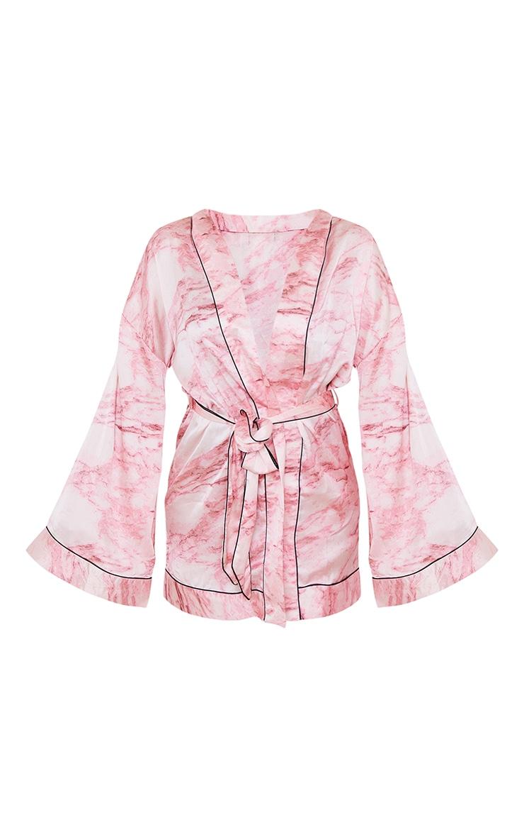 Pink Marble Print Satin Robe 5
