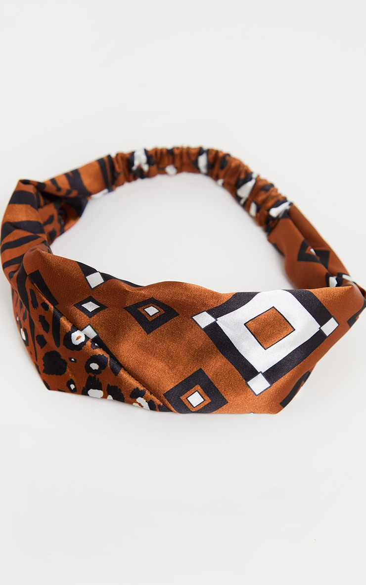Rust Satin Geo Print Headband 2